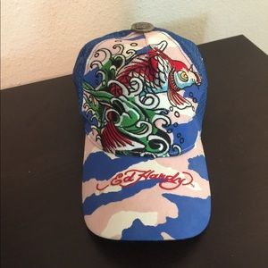 a87aa19c4 Ed Hardy Trucker Hat. Blue and pink camo hat w/koi